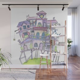 Pink Floating City Wall Mural