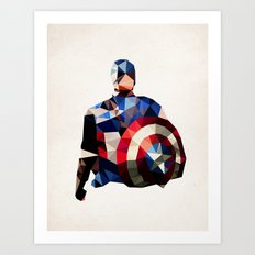 Polygon Heroes - Captain America Art Print