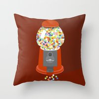 gumball Throw Pillows featuring Gumball Machine by Haley Jo Phoenix