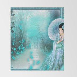 Geisha In Teal Throw Blanket