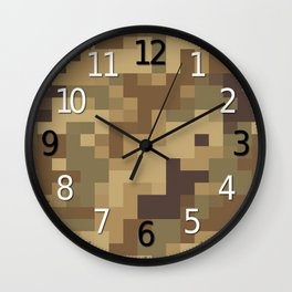 Army Camouflage Pixelated Pattern Brown Dirt Desert Wall Clock