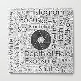Photography Terms  Word Cloud Lens Shutter Metal Print