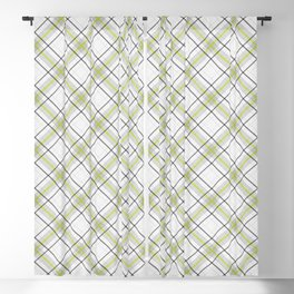 Diagonal tartan gray and yellow over white Blackout Curtain