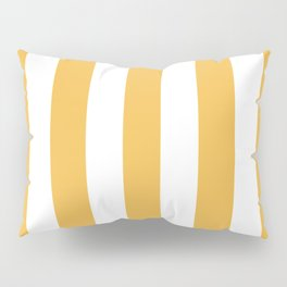 Maximum yellow red - solid color - white vertical lines pattern Pillow Sham