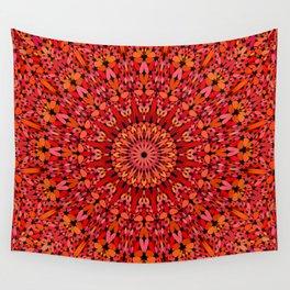 Red Geometric Bloom Mandala Wall Tapestry