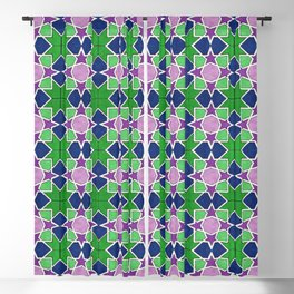 Islamic geometric star motif in green, blue and purple Blackout Curtain