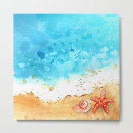 Tropical Shoreline Starfish and Seashell Metal Print