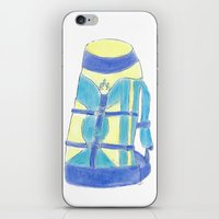 backpack iPhone & iPod Skins featuring A backpack yellow by Atelier Pora