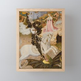Saint George and the Dragon Medieval Painting Framed Mini Art Print