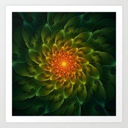 Beautiful Orange-Green Desert BarrelCactus Spiral Art Print