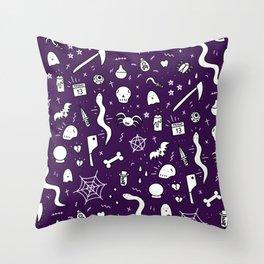 SPOOKY HALLOWEEN! - PURPLE PATTERN Throw Pillow
