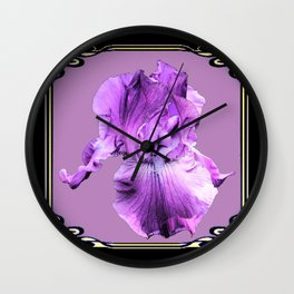 Lilac Color Purple Iris  Black Art Noveau Design  Wall Clock