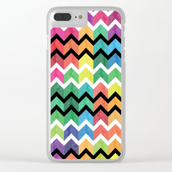 Watercolor Chevron Pattern VI Clear iPhone Case