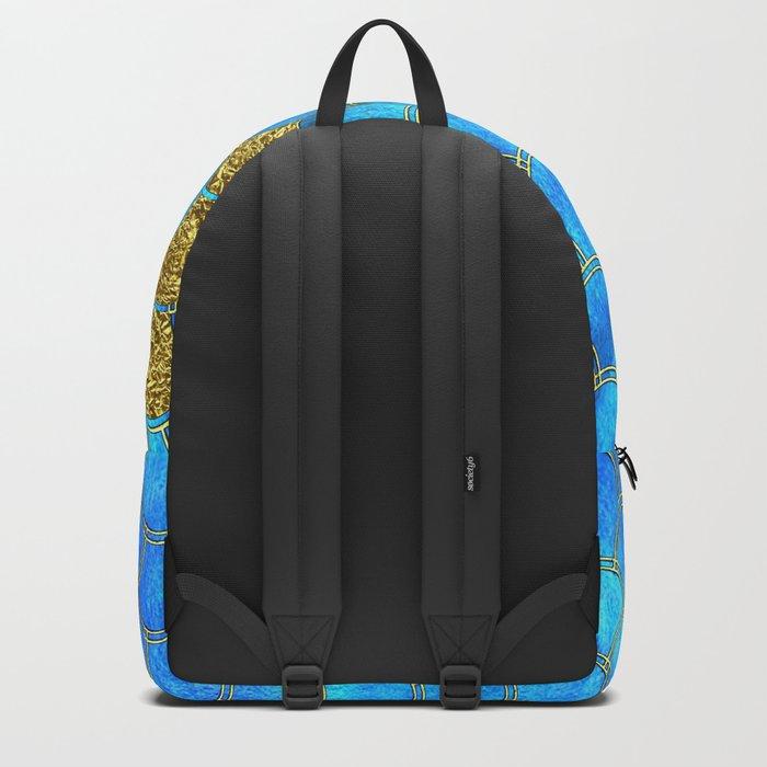Blue aqua turquoise and gold glitter mermaid scales - Beautiful mermaidscales pattern Backpack