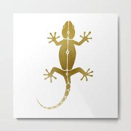 Cute abstract gecko lizard metallic gold Metal Print