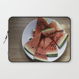 Flat lay of  watermelon on the wooden surface Laptop Sleeve