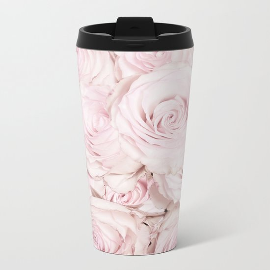 Roses have thorns- Floral Flower Pink Rose Flowers on #Society6 Metal Travel Mug