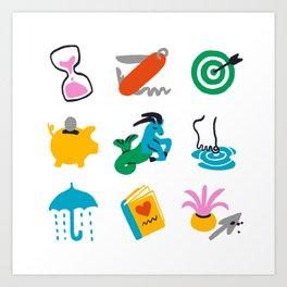 Capricorn Emoji Art Print