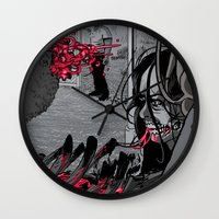 the walking dead Wall Clocks featuring The Walking Dead by Steven P Hughes