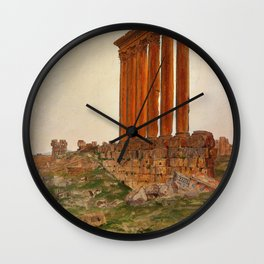 Frederic Edwin Church - Ruins Of The Temple Of Zeus, Baalbek - Digital Remastered Edition Wall Clock