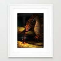 smaug Framed Art Prints featuring Smaug by wolfanita