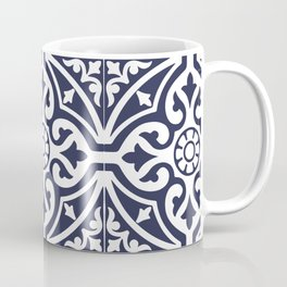 Talavera Mexican Tile in Navy Blue and White Coffee Mug