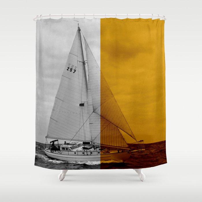 Sailboat Dusk Shower Curtain By Wanderingquartz