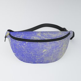 Vibrant Sky Blue & Gold Distressed Texture Fanny Pack