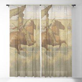 "Frederic Remington Western Art ""Horse Thieves"" Sheer Curtain"