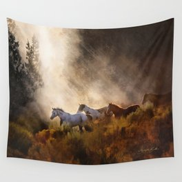 Horses in a Golden Meadow by Georgia M Baker Wall Tapestry