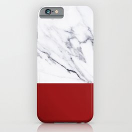 White Marble Red Hot Striped iPhone Case