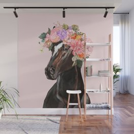 Horse with Flowers Crown in Pink Wall Mural