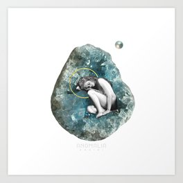 calmly sleeping in a celestine womb Art Print