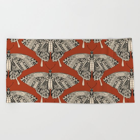 swallowtail butterfly terracotta black Beach Towel