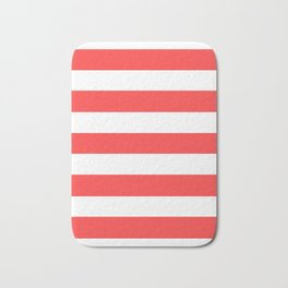 Coral red - solid color - white stripes pattern Bath Mat