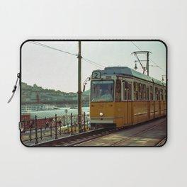Retro Tram 2 in Budapest. Yellow tram photography. Laptop Sleeve
