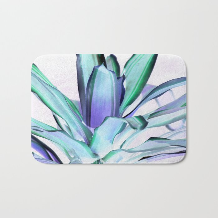Periwinkle Lavender Seafoam Aloe Leaves Abstract Bath Mat