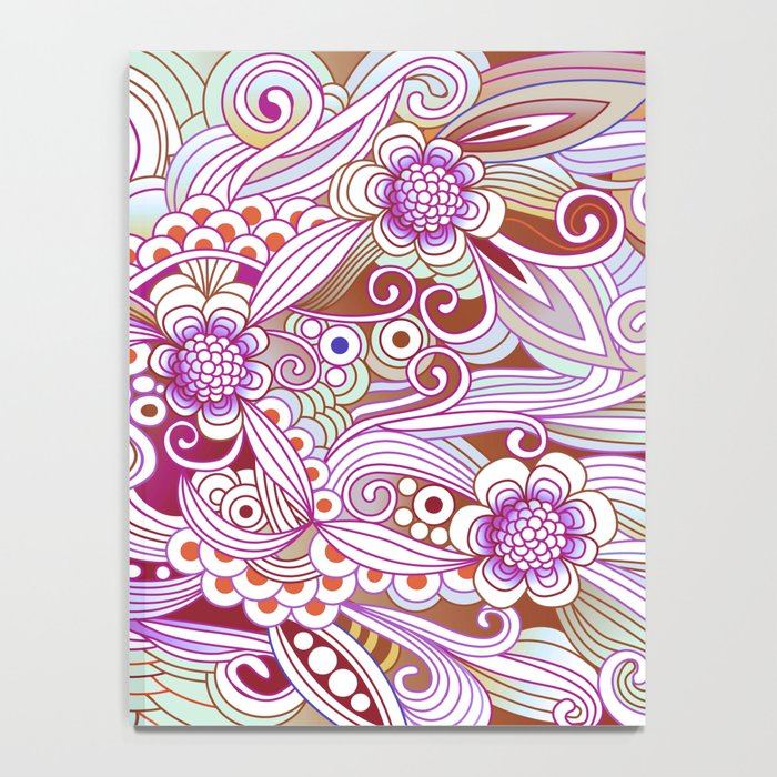 zentangle inspired Flower fire doodle, purple colorway Notebook