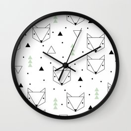 Scandinavian woodland fox forest mint black and Wall Clock