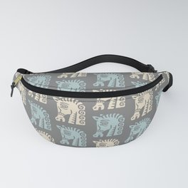 Mid Century Horse Pattern Grey Blue and Beige Fanny Pack