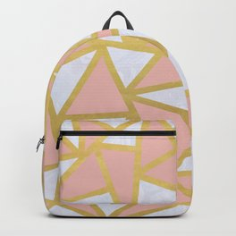 Pink Gold and Marble Geometric Triangles Art Deco Backpack