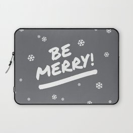 Charcoal Gray Be Merry Christmas Snowflakes Laptop Sleeve
