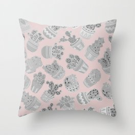 Modern silver blush pink trendy cactus floral Throw Pillow