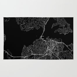 Auckland Black Map Rug