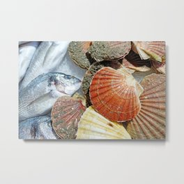 Fresh Clams and Fish on ice Metal Print