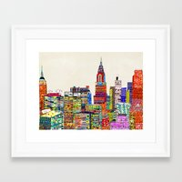 new york skyline Framed Art Prints featuring new york city skyline by bri.buckley