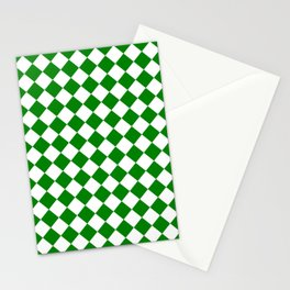 Diamonds - White and Green Stationery Cards