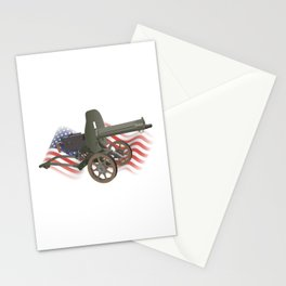 Maxim Gun with US Flag Stationery Cards