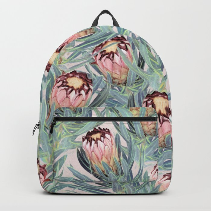 Pale Painted Protea Neriifolia Backpack