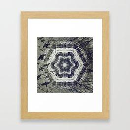 Kaleidoscope Dock on Water, Black and White Framed Art Print